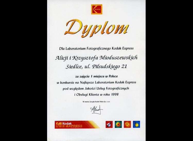 I miejsce w Polsce w konkursie na Najlepsze Laboratorium Kodak Express