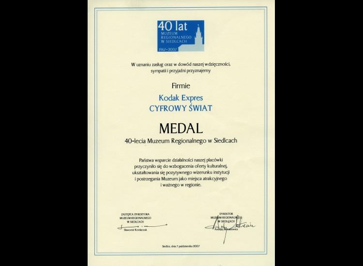 MEDAL 40-lecia Muzeum Regionalnego w Siedlcach