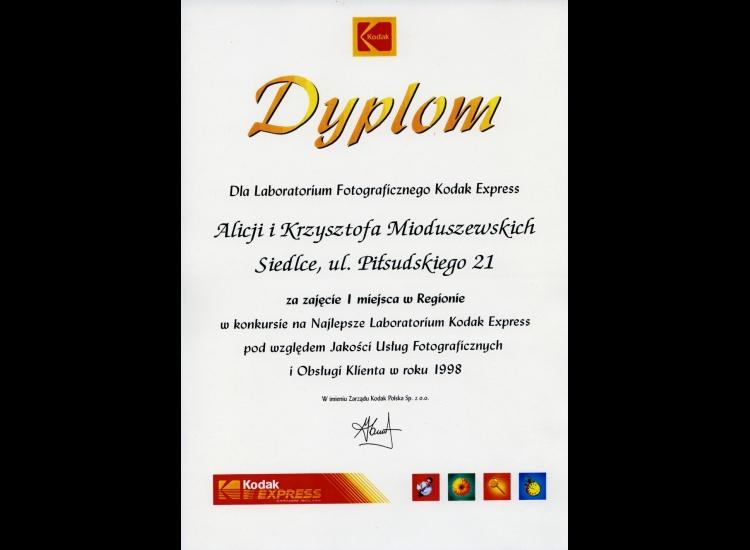I miejsce w regionie w konkursie na Najlepsze Laboratorium Kodak Express 1998