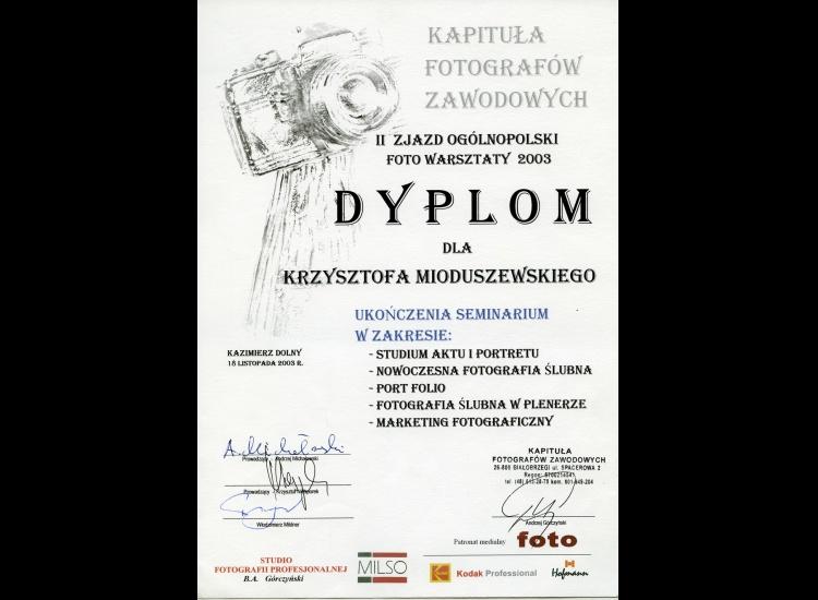 Dyplom Ukończenia SEMINARIUM FOTOGRAFICZNEGO