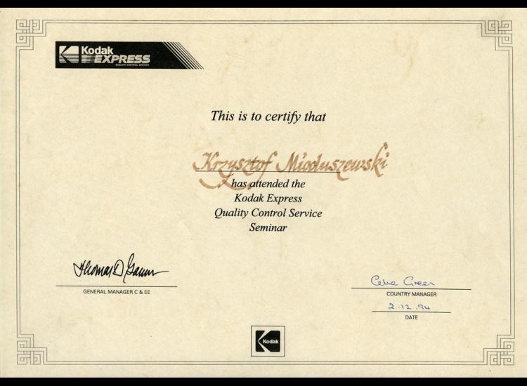 Certyfikat Jakości 1994 - Krzysztof Mioduszewski