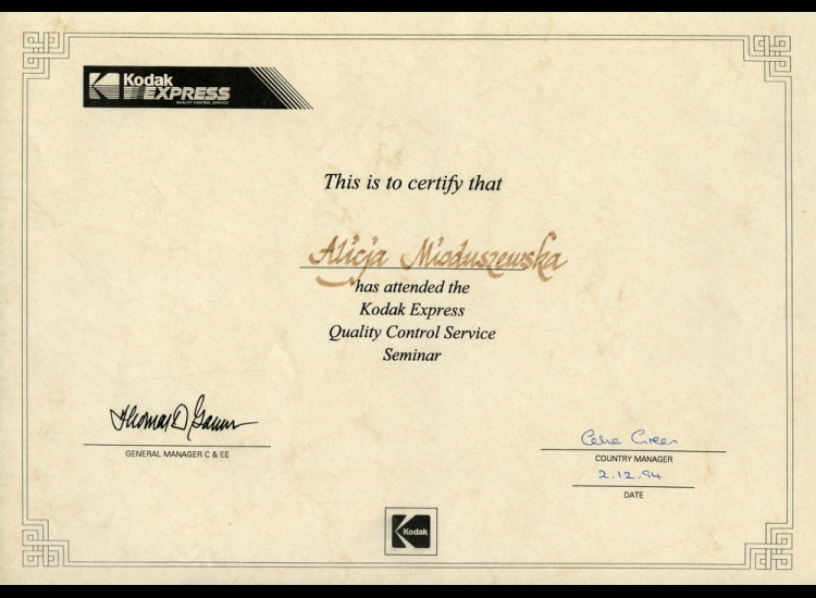 Certyfikat Jakości 1994 - Alicja Mioduszewska